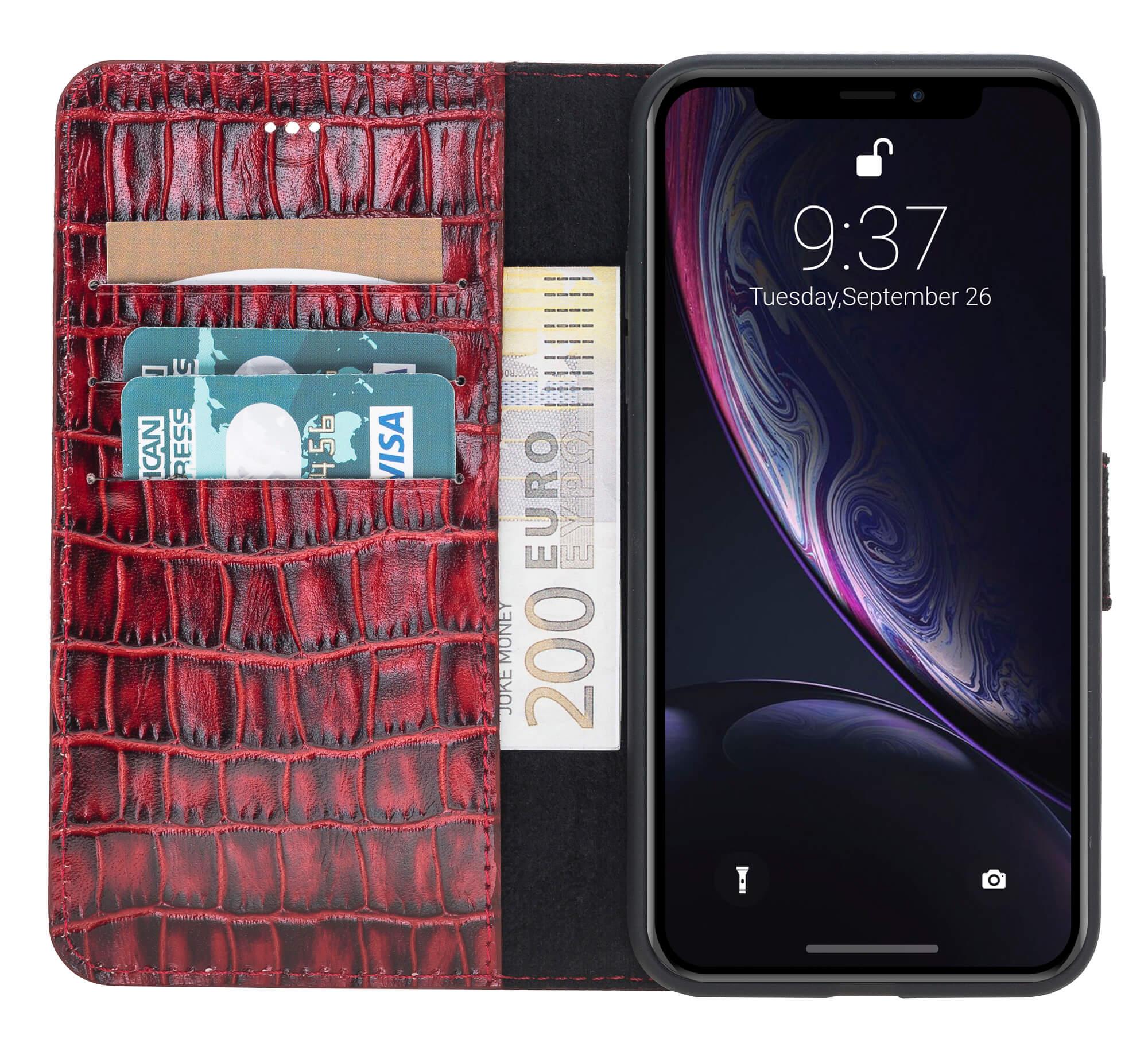 "iPhone X / XS Hülle - Abnehmbar ""Harvard"" - Krokoprägung Rot aus Leder"