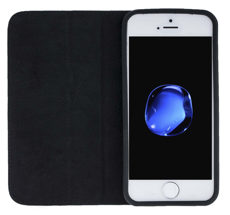 """iPhone SE / 5 / 5S Hülle - """"Wallet"""" - Floater-Schwarz aus Leder"""