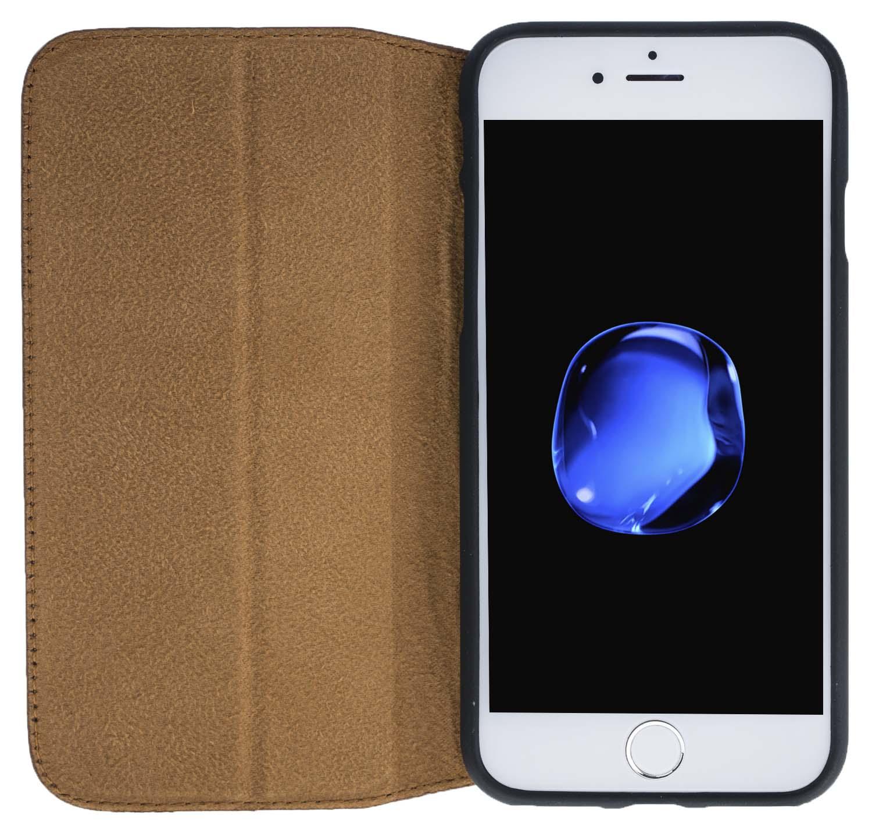 """iPhone SE / 5 / 5S Hülle - """"Wallet"""" - Floater-Braun aus Leder"""