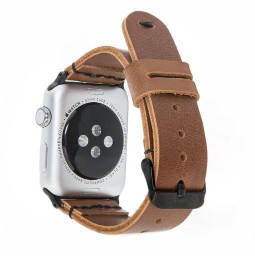 Apple Watch Lederarmband in 42mm / 44 mm  Cognac Braun / Schwarzer Connector + Schwarze Naht