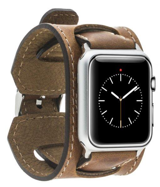 "Apple Watch Lederarmband ""2in1"" in 42mm / 44 mm Camel Braun"