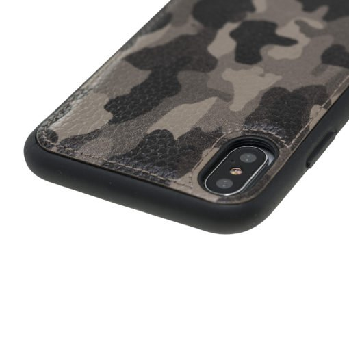 """iPhone X / XS Lederhülle """"STANFORD"""" (Camouflage Taupe)"""