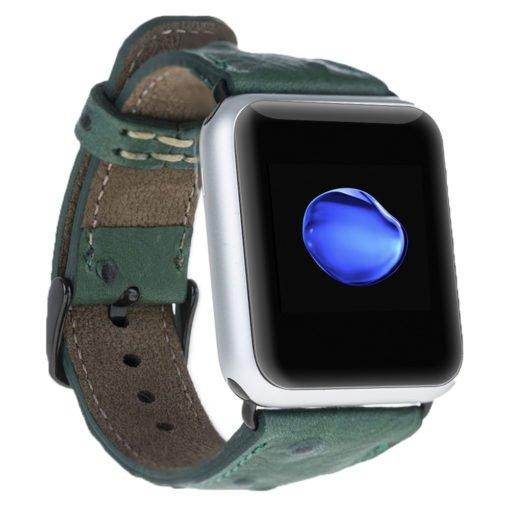 Apple Watch Lederarmband in 42mm / 44 mm Strauss Prägung in Grün / Schwarzer Connector