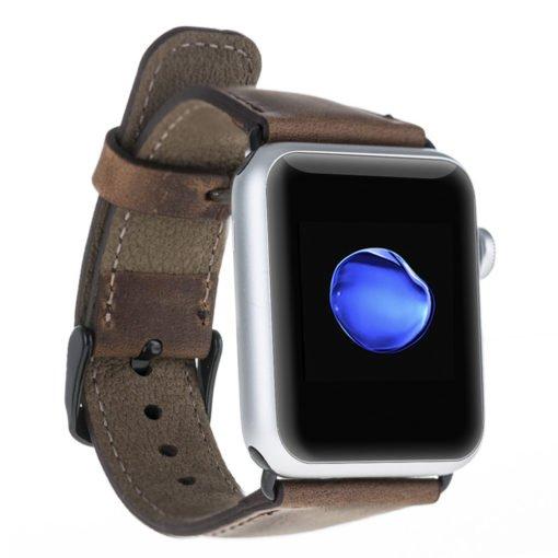 Armband aus echtem Leder für die Apple Watch Series 1 - 4 Leder Lederarmband in Überlänge 42mm / 44 mm Vintage Braun / Schwarze Connector