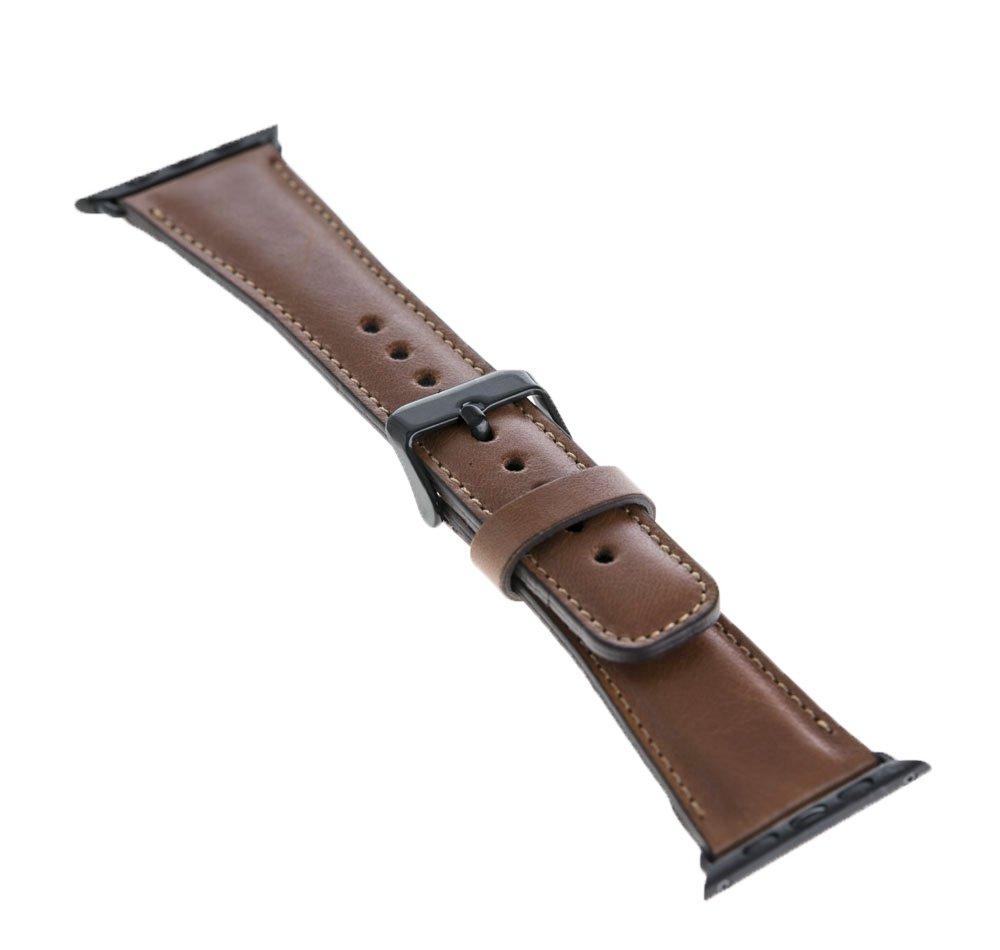 Apple Watch Lederarmband in 42mm / 44 mm  Cognac Braun / Schwarze Connector