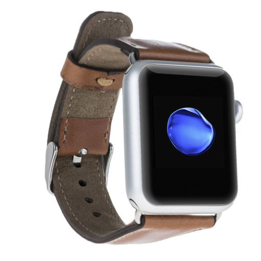 Apple Watch Lederarmband in 42mm / 44 mm Camel / Silber farbiger Connector