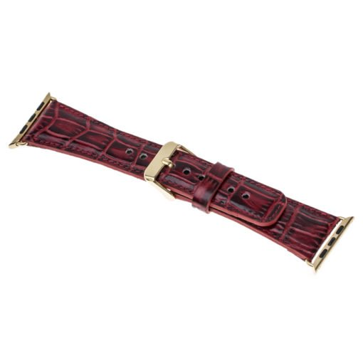Apple Watch Lederarmband in 38mm / 40 mm Kroko-Rot / Gold farbiger Connector