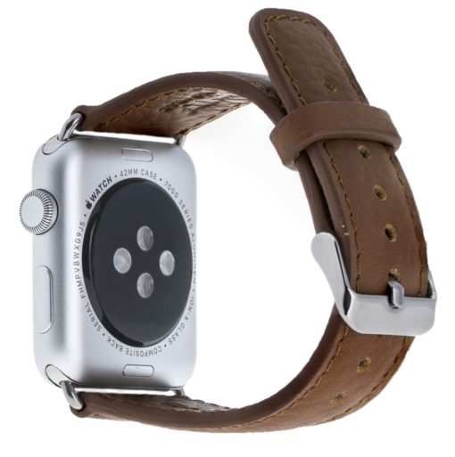 Apple Watch Lederarmband in 42mm / 44 mm Floater Braun / Silber Connector