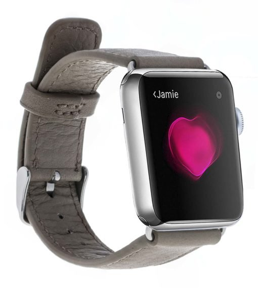 Apple Watch Lederarmband in 42mm / 44 mm  Floater Taupe / Silber Connector
