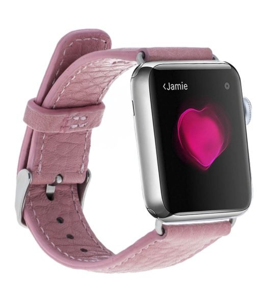 Apple Watch Lederarmband in 42mm / 44 mm Floater Rosa / Silber Connector