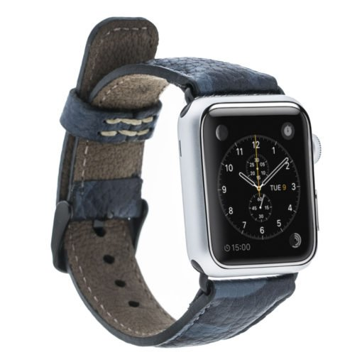 Apple Watch Lederarmband in 42mm / 44 mm Camouflage Blau / Schwarzer Connector