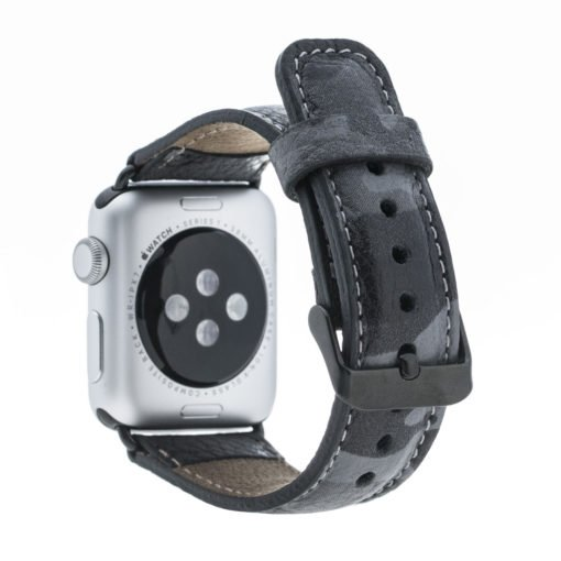 Apple Watch Lederarmband in 42mm / 44 mm Camouflage Grau / Schwarzer Connector