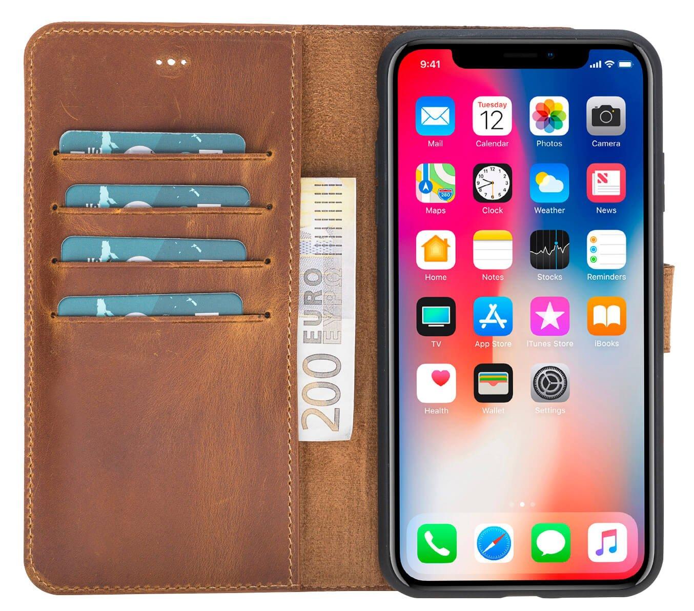 """iPhone X / XS Hülle - Abnehmbar """"Harvard"""" - Camel Braun aus Leder"""