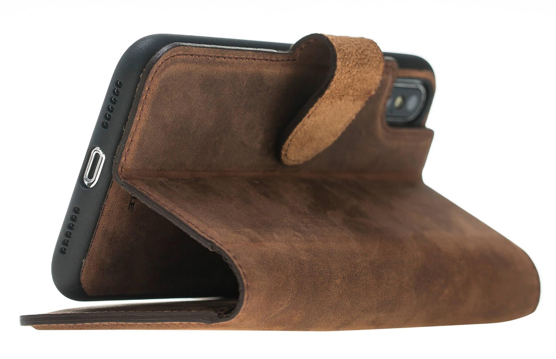 "iPhone X / XS Hülle - Abnehmbar ""Harvard"" Leder Hülle Tasche Lederhülle Ledertasche Backcover - Vintage Braun aus Leder"