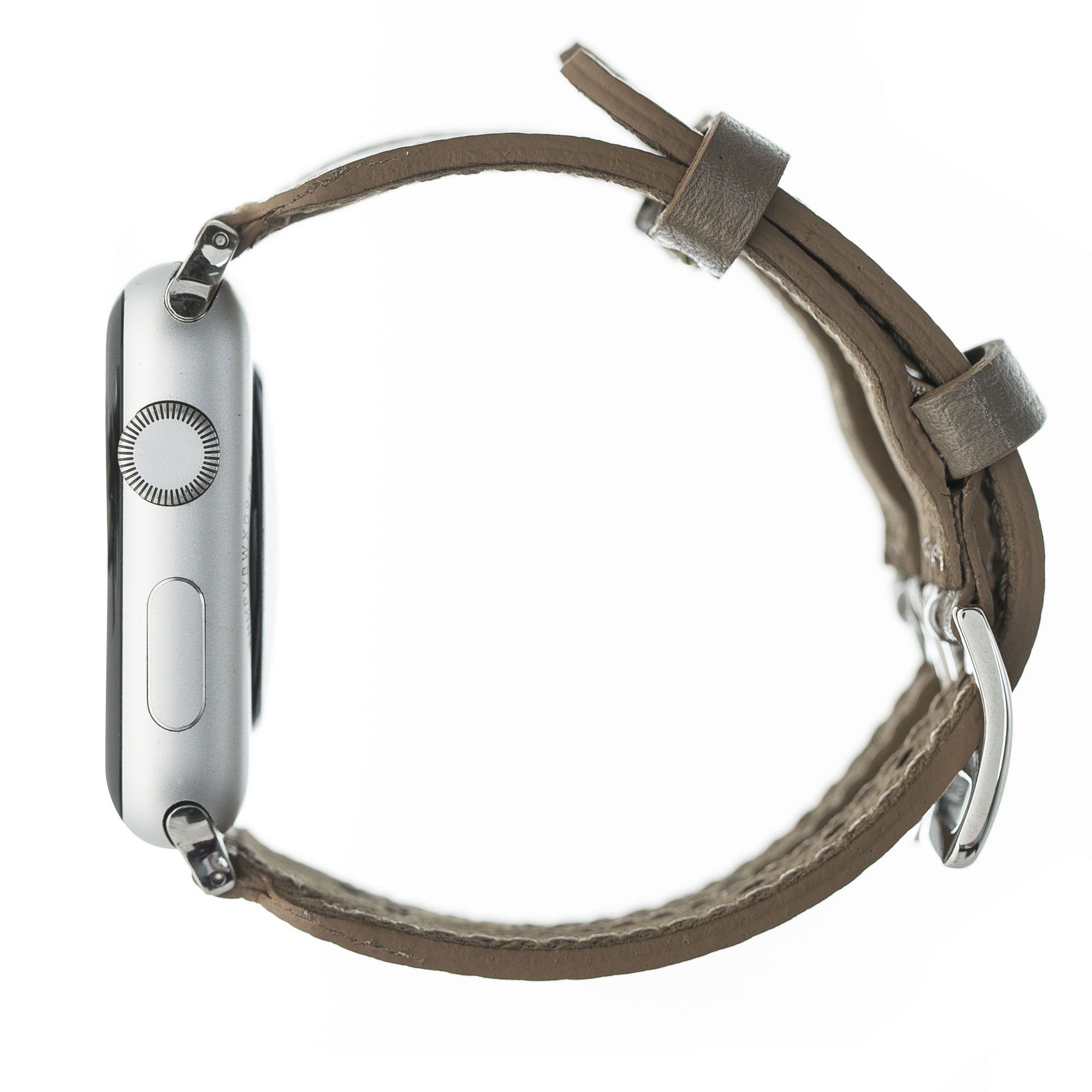 "Apple Watch Lederarmband ""Double Buckle"" in 42mm / 44 mm Taupe"