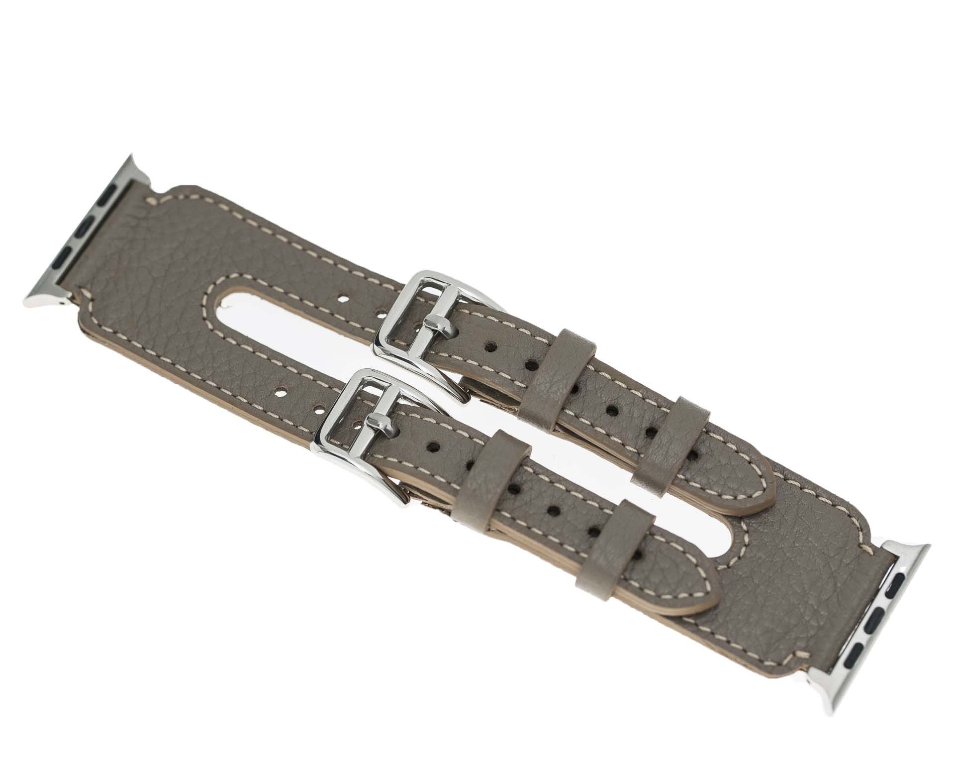 """Apple Watch Lederarmband """"Double Buckle"""" in 42mm / 44 mm  Taupe"""