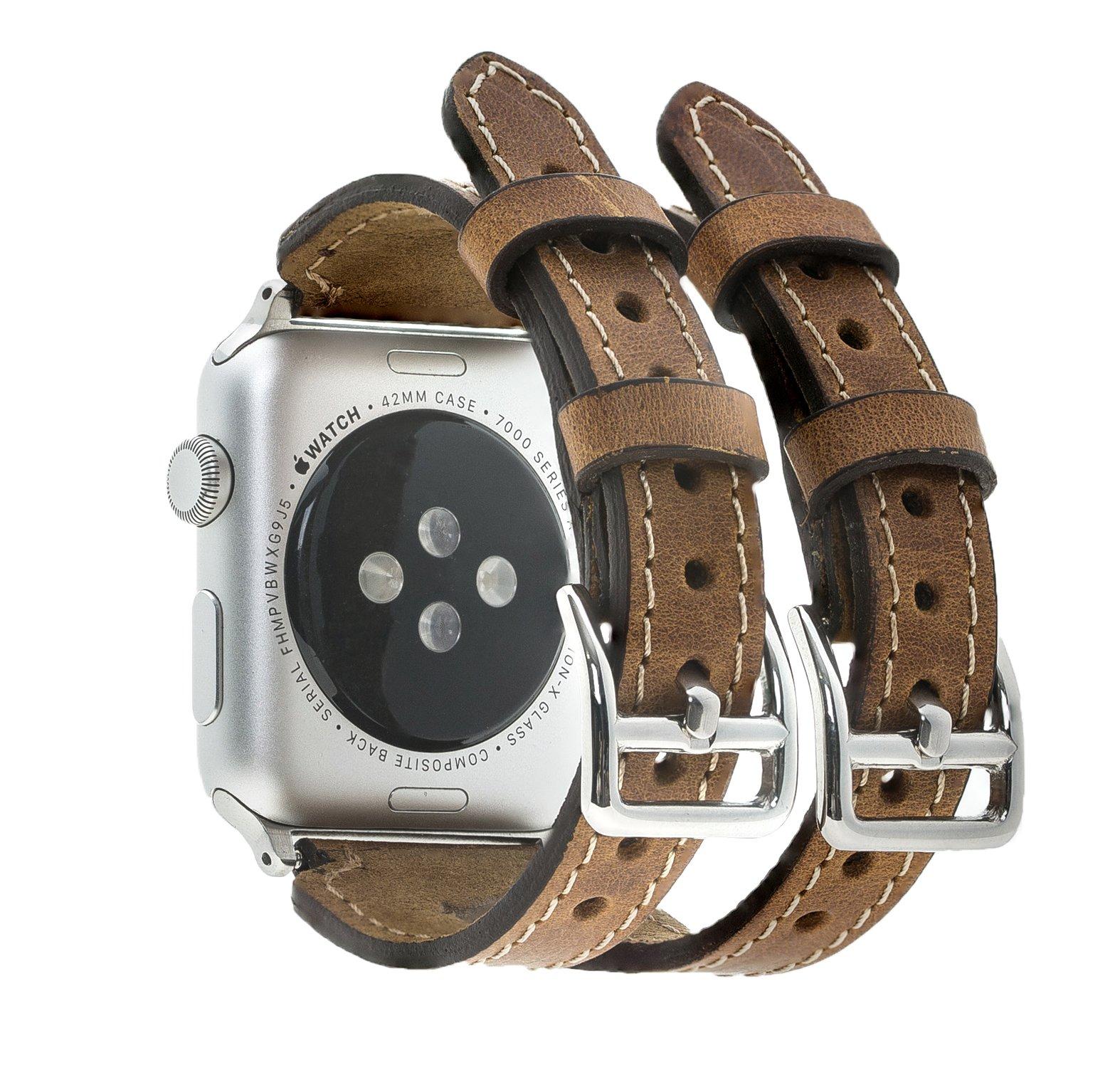 "Apple Watch Lederarmband ""Double Buckle"" in 38 mm Camel Braun"