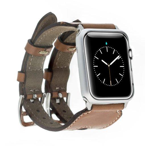"Apple Watch Lederarmband ""Double Buckle"" in 42mm / 44 mm Cognac Braun / Silber Connector"