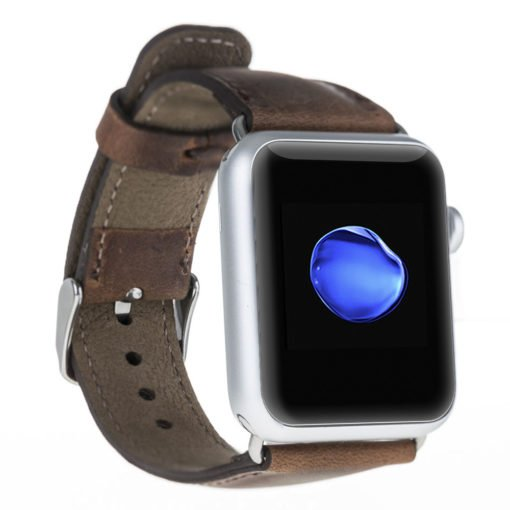 Armband aus echtem Leder für die Apple Watch Series 1 - 4 Leder Lederarmband in 42mm / 44 mm Vintage Braun / Silber Connector