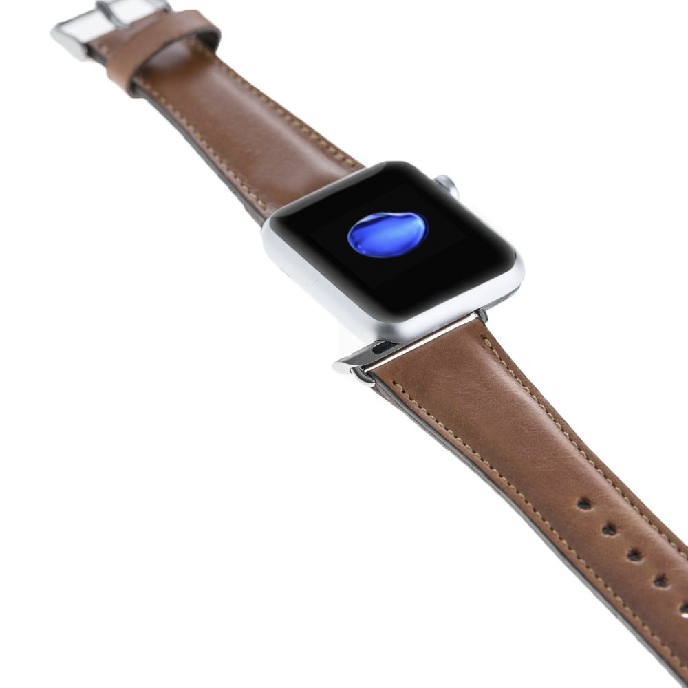 Apple Watch Lederarmband in 42mm / 44 mm Cognac Braun / Silber Connector