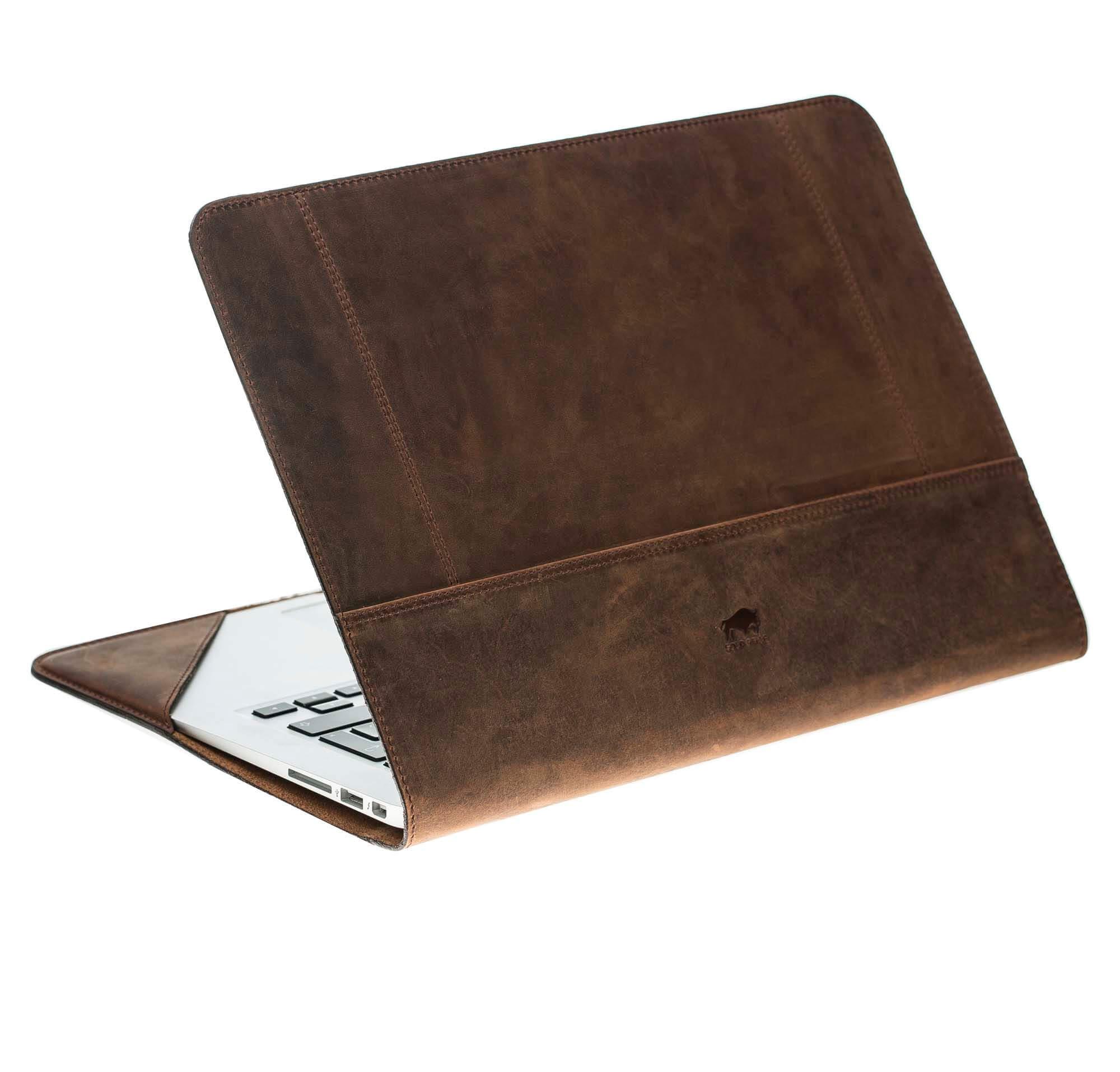 """MacBook Air 13 Zoll """"Munich"""" Tasche aus echtem Cognac Braun"""
