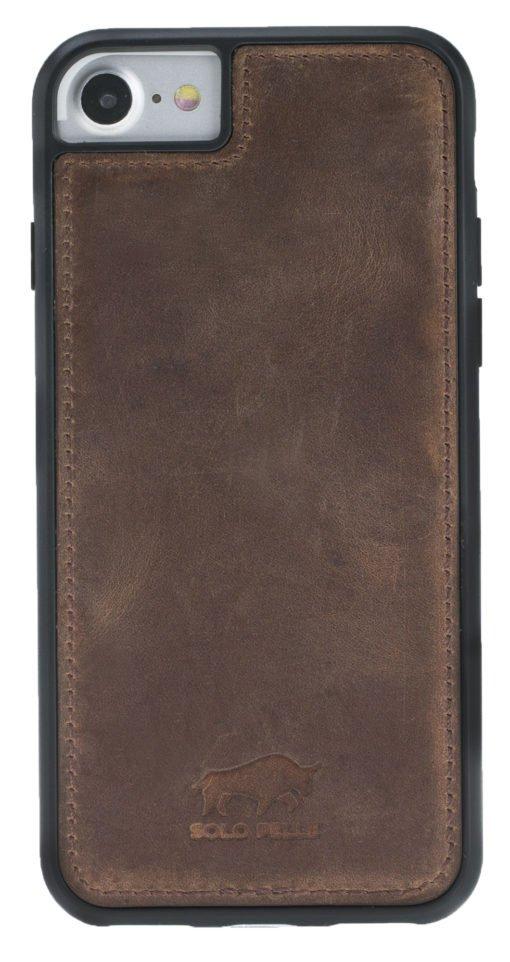 "iPhone 8/7 Hülle - Abnehmbar ""Harvard"" Leder Hülle Tasche Lederhülle Ledertasche Backcover - Vintage Braun aus Leder"