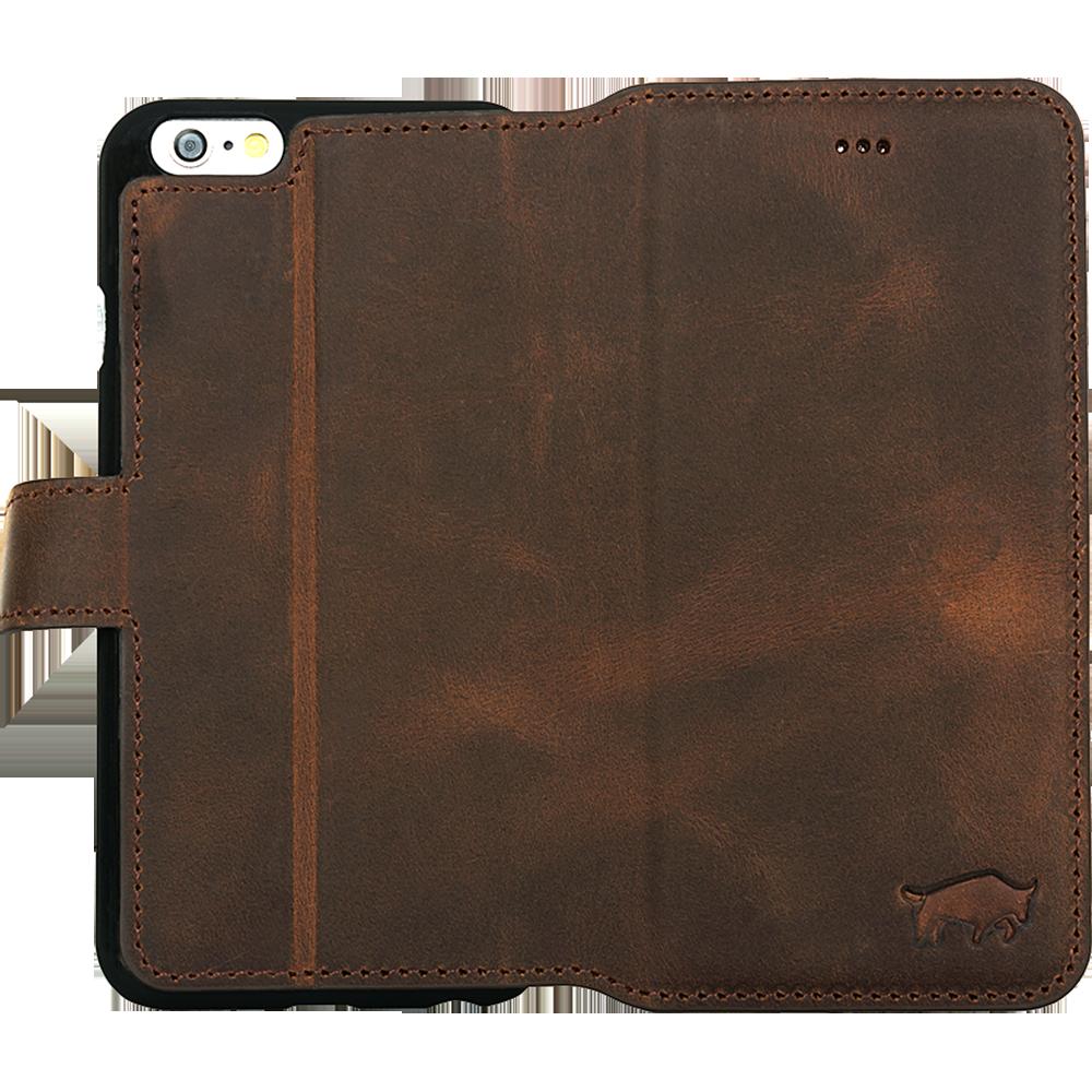 """iPhone 6 Plus / 6S Plus Hülle - """"Wallet"""" - Vintage Braun aus Leder"""