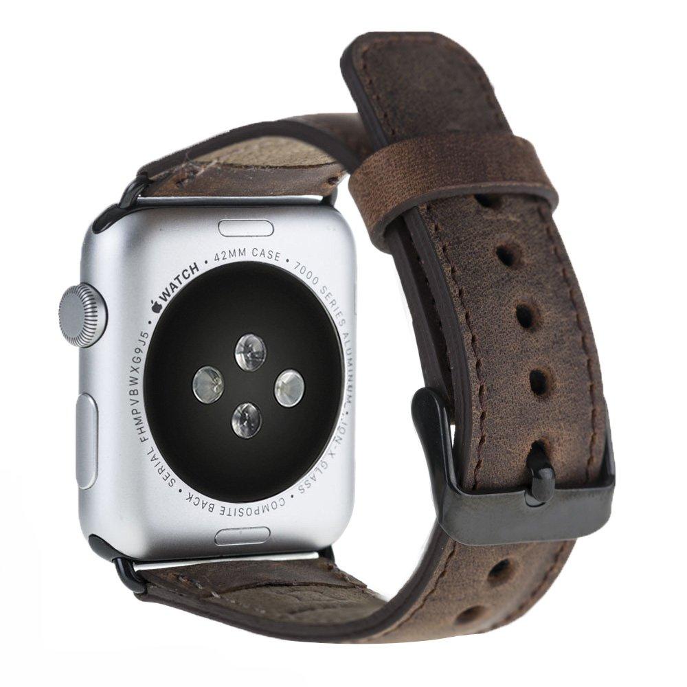 Armband aus echtem Leder für die Apple Watch Series 1 - 4 Leder Lederarmband in 42mm / 44 mm  Vintage Braun / Schwarze Connector