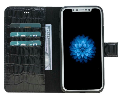 "iPhone X / XS Hülle - Abnehmbar ""Harvard"" - Krokoprägung Schwarz aus Leder"