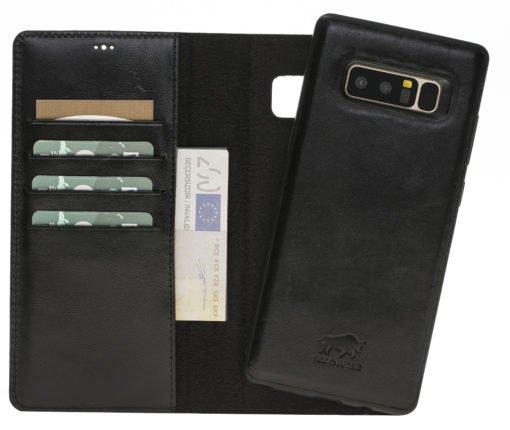 Samsung Note 8 Lederhülle (2in1) Hülle in Schwarz