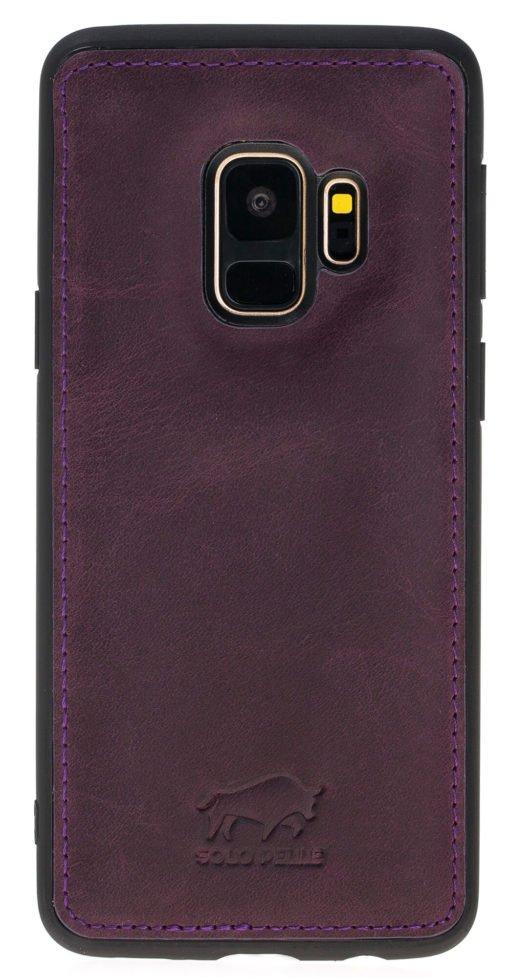 """Samsung Galaxy S9 Hülle aus echt Leder in Vintage Lila   """"Flex"""""""