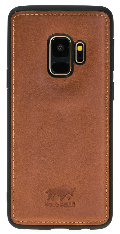 Samsung Galaxy S9 Plus abnehmbare Lederhülle inkl. Kartenfächer in Cognac Braun