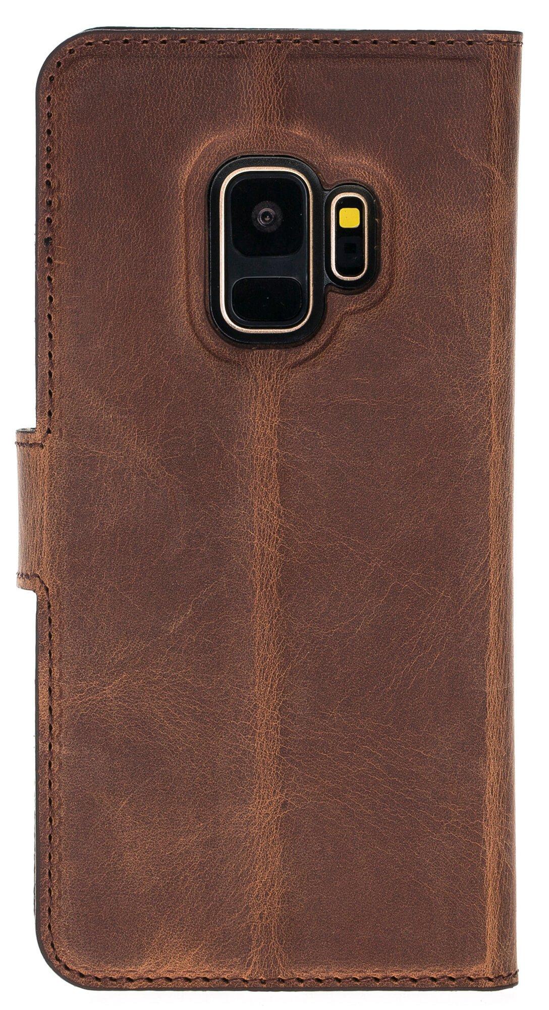 Samsung Galaxy S9 abnehmbare Lederhülle inkl. Kartenfächer in Vintage Lila