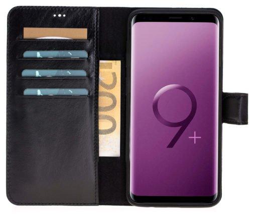 Samsung Galaxy S9 Plus abnehmbare Lederhülle inkl. Kartenfächer in Vintage Lila