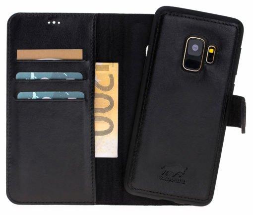 Samsung Galaxy S9 Plus abnehmbare Lederhülle inkl. Kartenfächer in Schwarz