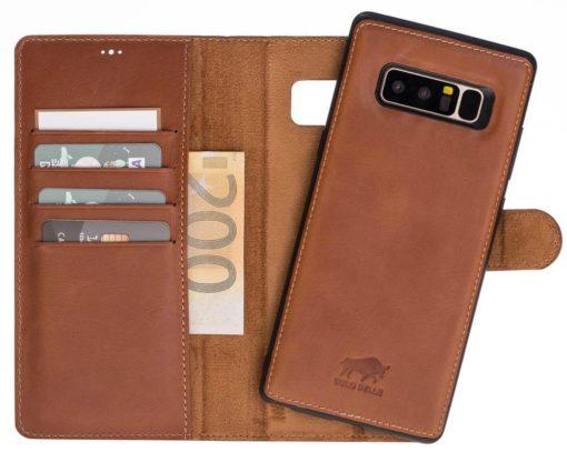 "Samsung Note 8 abnehmbare Lederhülle ""Harvard"" Hülle in Vintage Lila"
