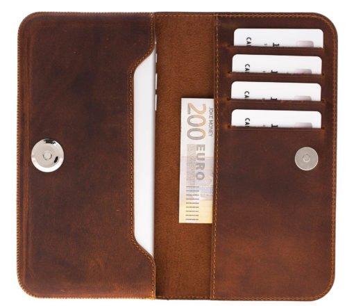 Universal Lederhülle passend für das iPhone XS Max / 8 Plus und Geräte ähnlicher Grösse aus echtem Leder in Vintage Braun