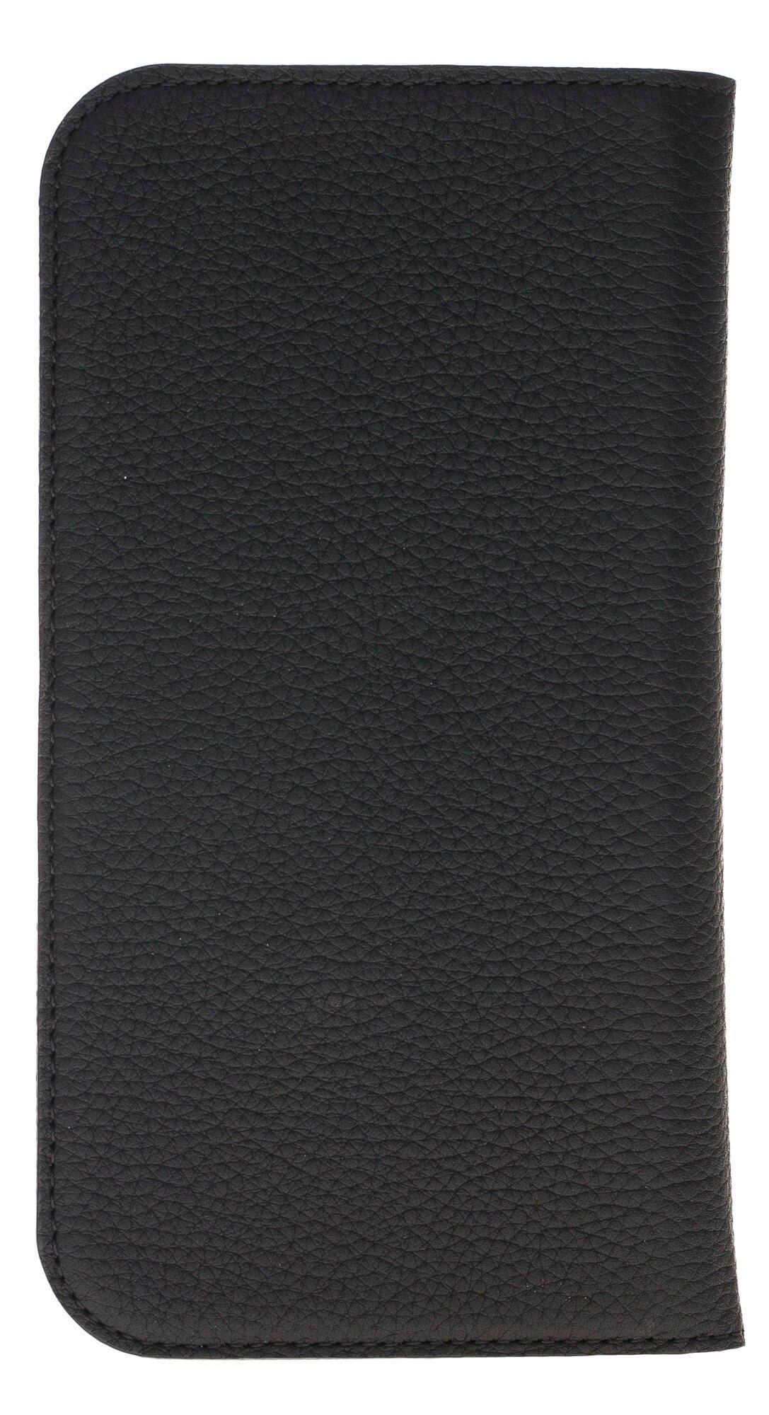 Universal Lederhülle passend für das iPhone x/xs und Geräte ähnlicher Grösse aus echtem Leder in Matt Schwarz (Designer)