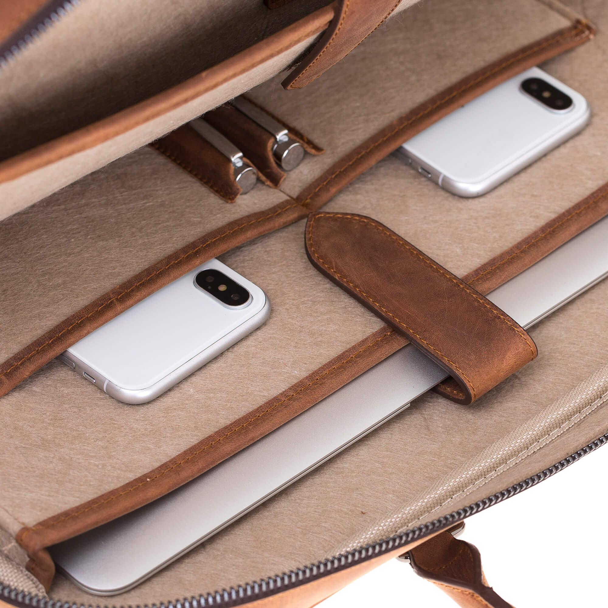 """Businesstasche """"Sardis"""" in genarbtem Leder in Vintage Braun"""