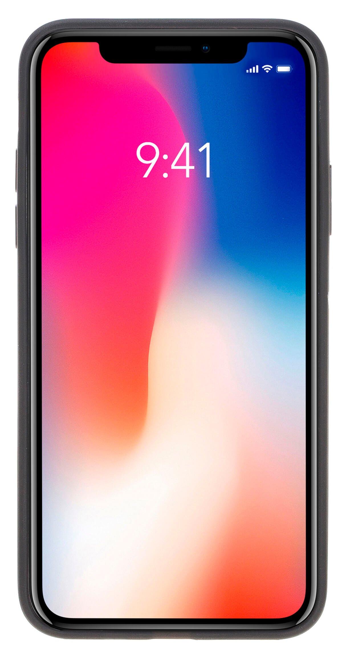 """iPhone X / XS Lederhülle """"STANFORD"""" (Fell Bordeaux)"""