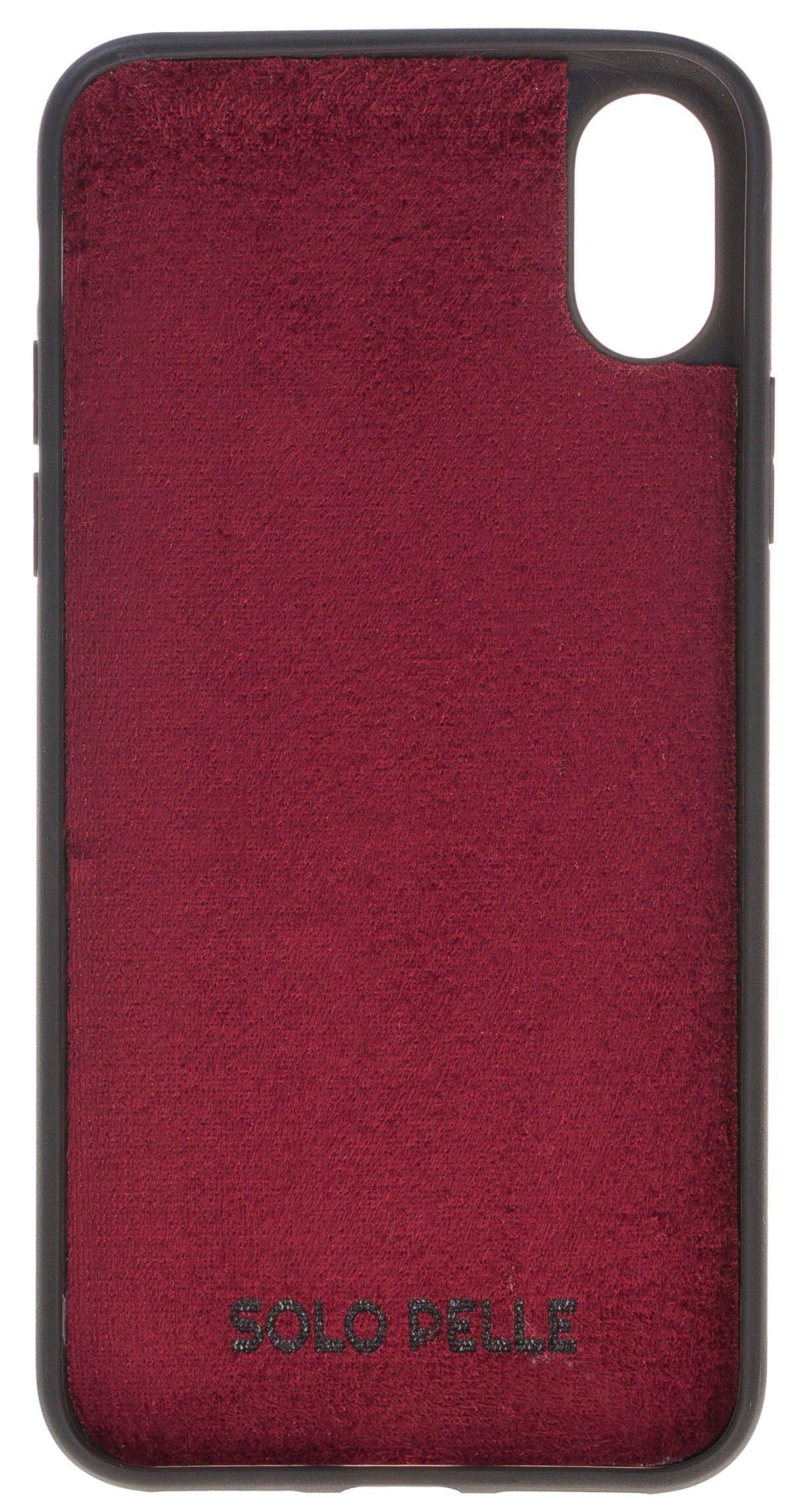"""iPhone X / XS abnehmbare Lederhülle """"Harvard"""" (Fell-Bordeaux)"""