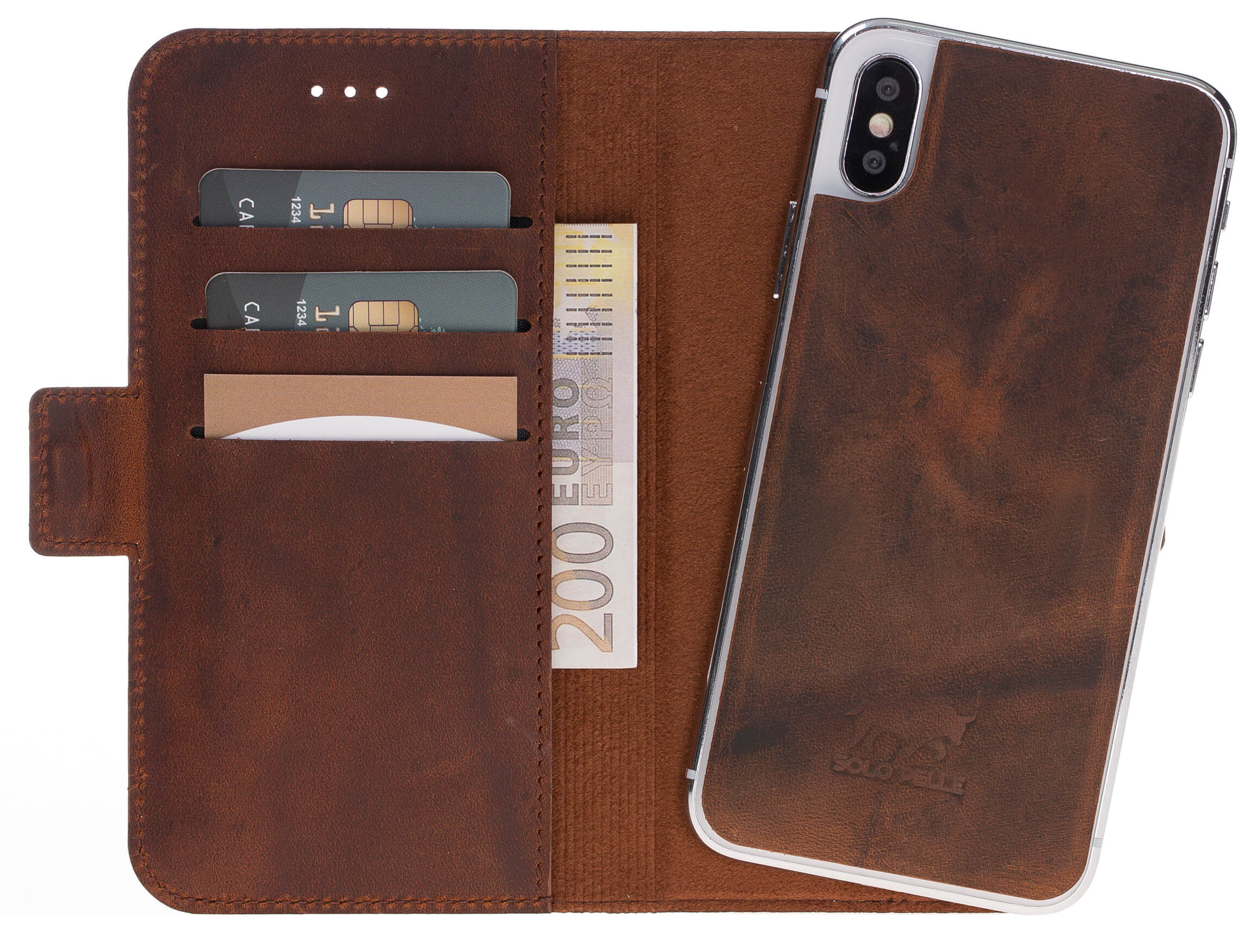 iPhone X abnehmbare Lederhülle (2in1) Slim Vintage Braun