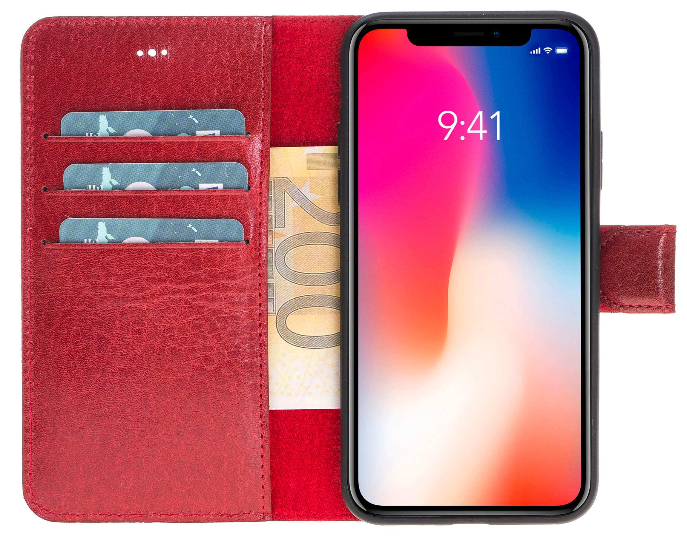 "iPhone X / XS abnehmbare Lederhülle ""Harvard"" (Burned Rot)"