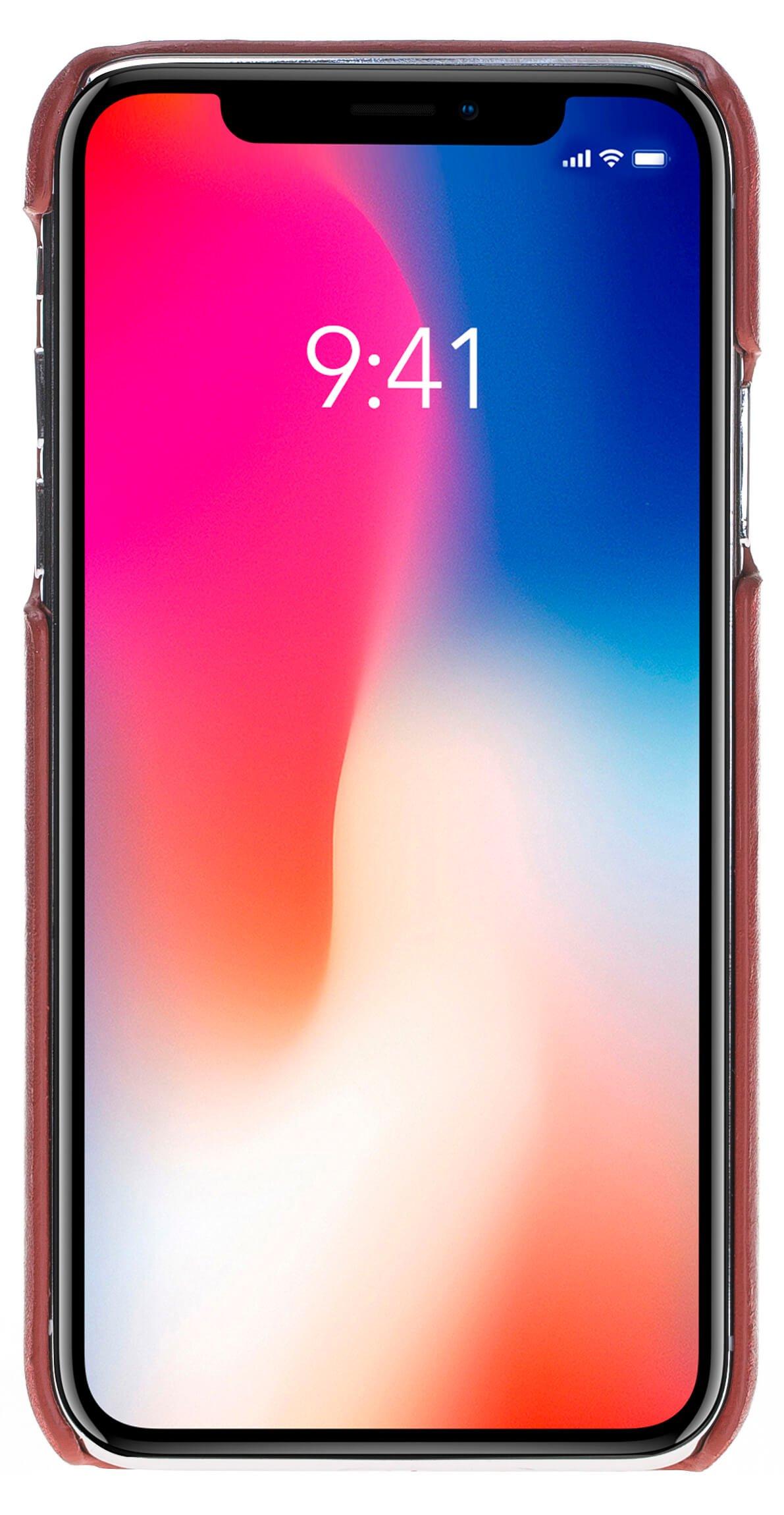 "iPhone X / XS Hülle – ""Yale"" – Burned Rot aus Leder"
