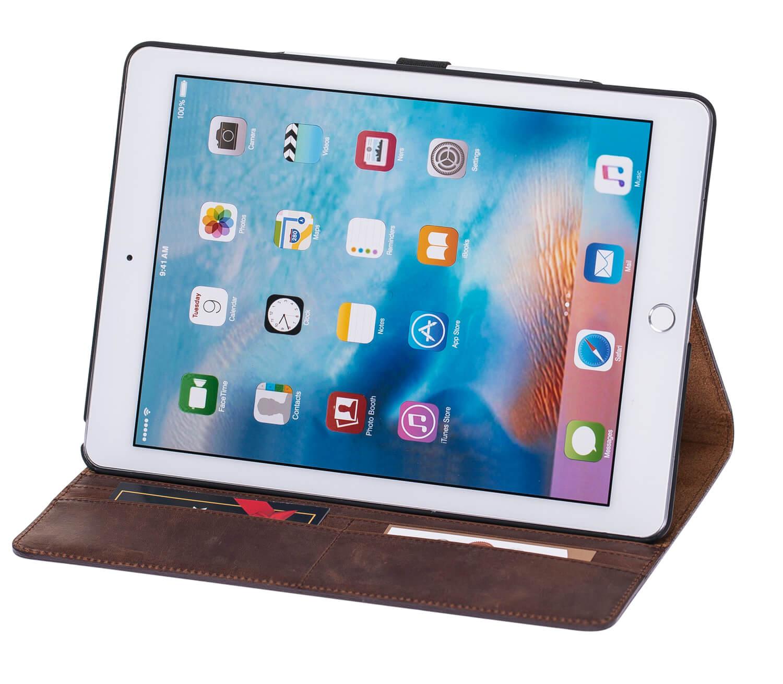 """iPad Pro 9,7 Zoll Tasche aus echtem Leder """"Miami"""" in Vintage Braun"""