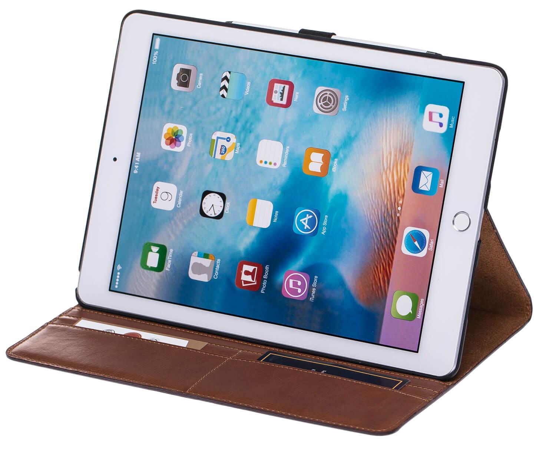 "iPad Pro 9,7 Zoll Tasche aus echtem Leder ""Miami"" in Cognac Braun Burned"