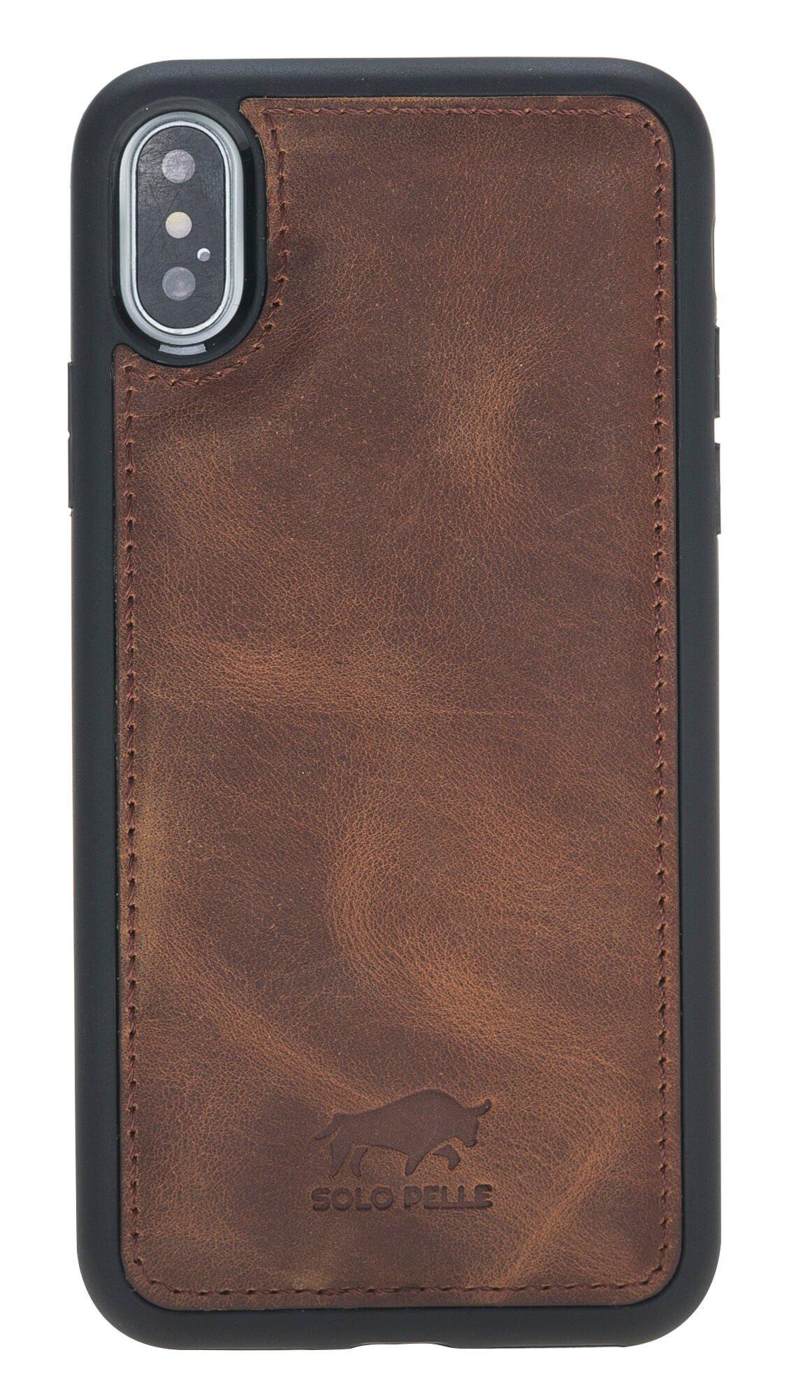 "iPhone X / XS Leder Hülle Tasche Lederhülle Ledertasche Backcover ""STANFORD"" (Vintage Braun)"