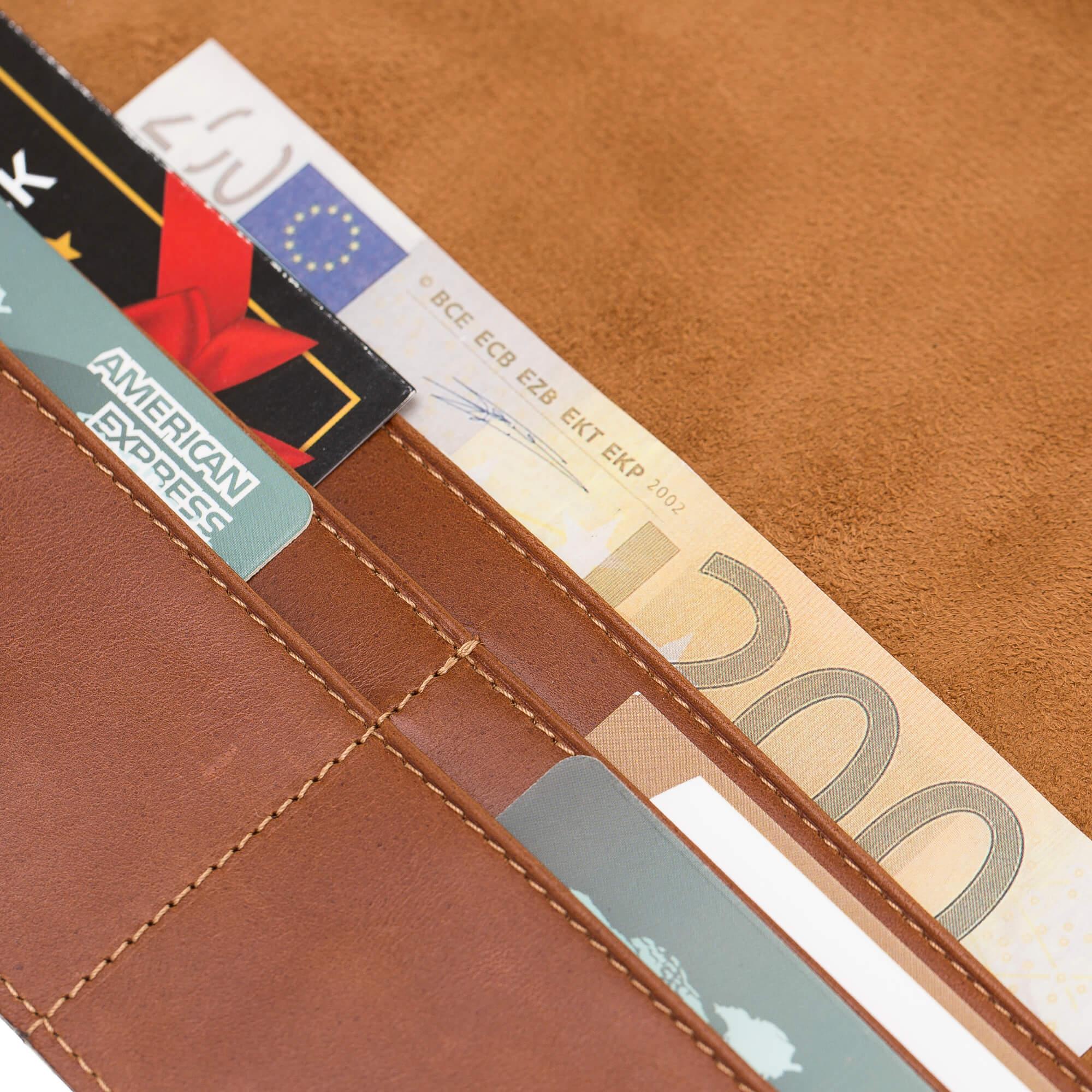 "iPad 9,7 Zoll 2018 Tasche aus echtem Leder ""Miami"" in Cognac Braun Burned"