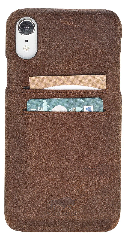 "iPhone XR ""Pomona"" Leder Hülle Tasche Lederhülle Ledertasche Backcover in Vintage Braun"