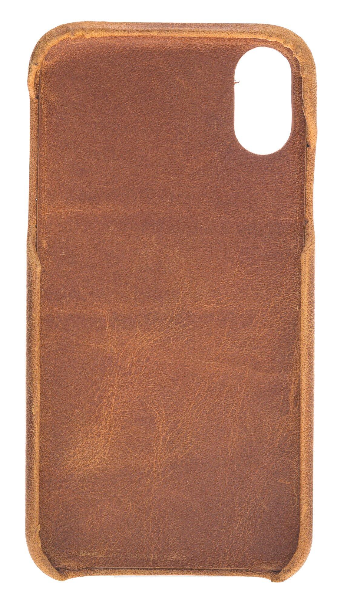 "iPhone XR 6.1 Zoll Abnehmbare Lederhülle ""Clemson"" in Camelbraun"